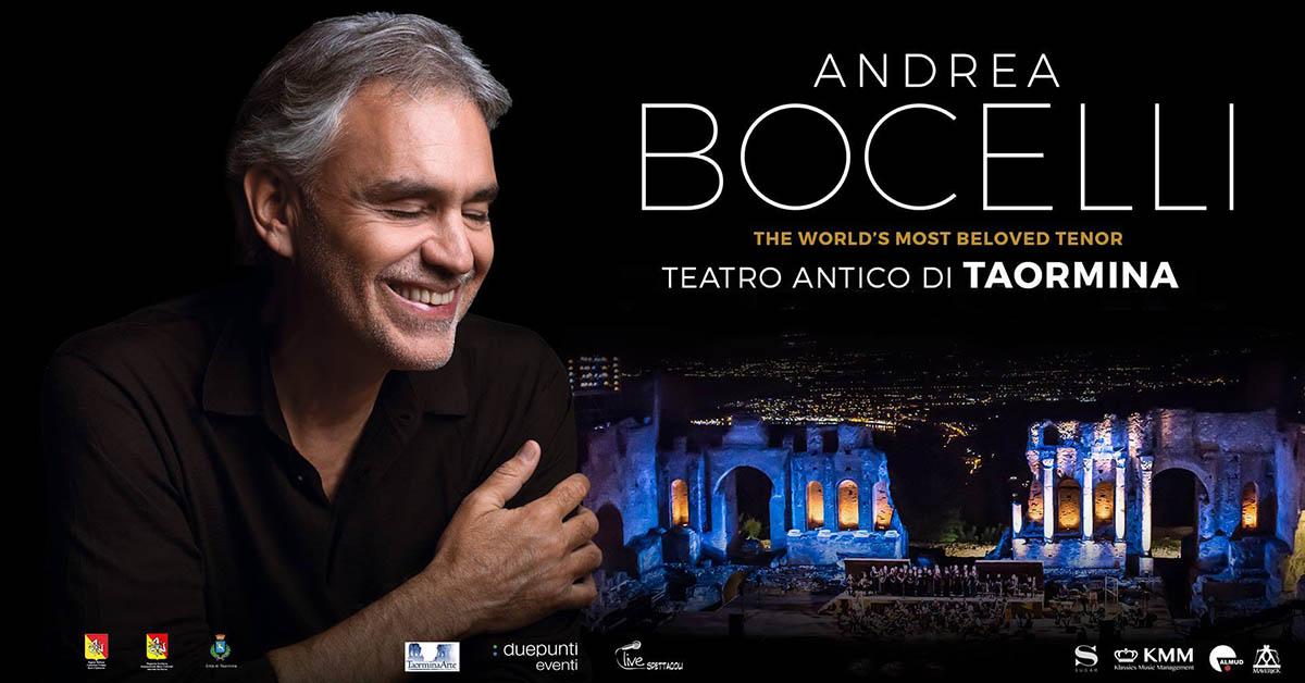 Концерт Андреа Бочелли в античном театре под открытым небом Teatro Antico в Таормина